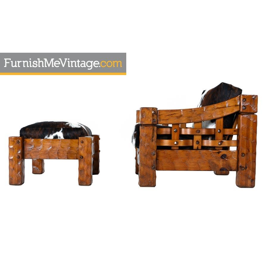 Pine Lounge Chair,Vintage, Cowhide, Rustic