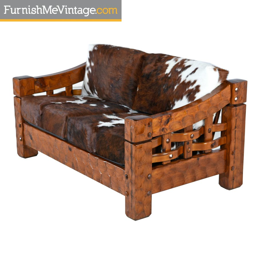 Null Solid Pine Rustic Modern Loveseat Sofa Setee in Cowhide Leather
