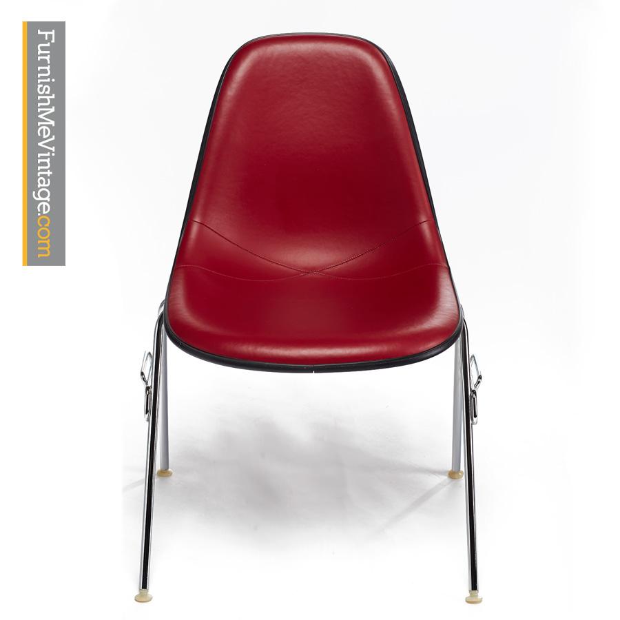 eames by herman miller vinyl red fiberglass shell chairs