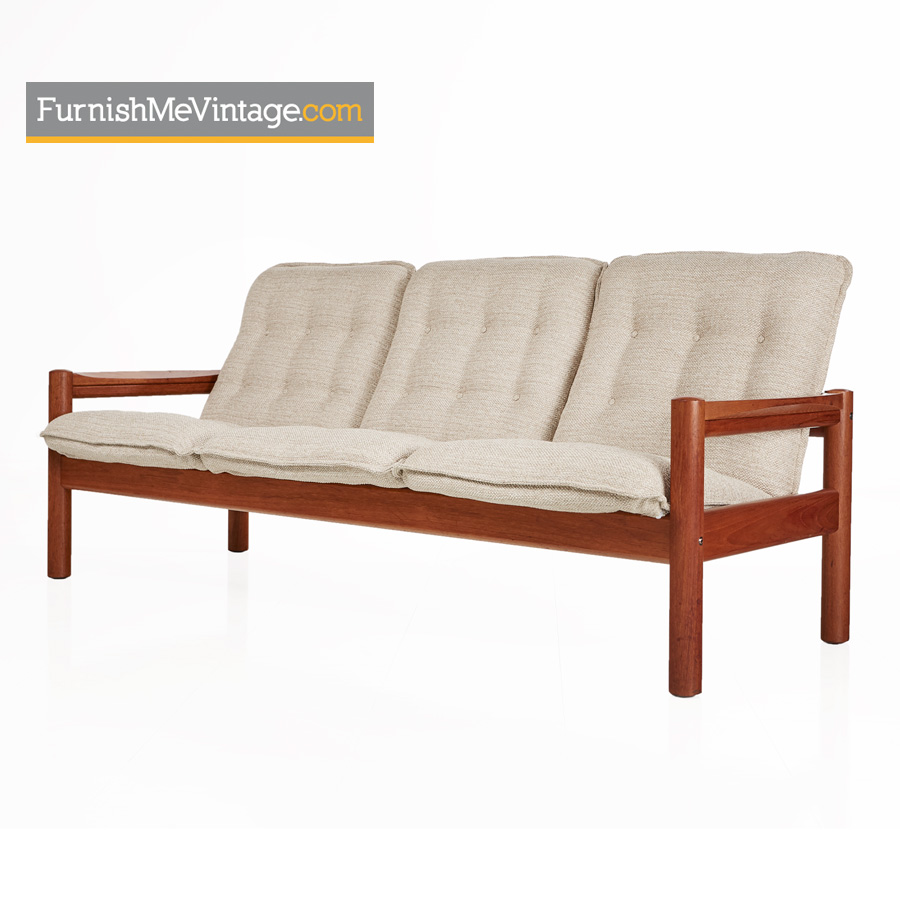 Domino Mobler Solid Teak Danish Modern 3-Seat Sofa Couch
