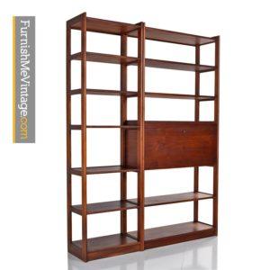 Danish Modern Freestanding Walnut Room-Divider Bookshelf