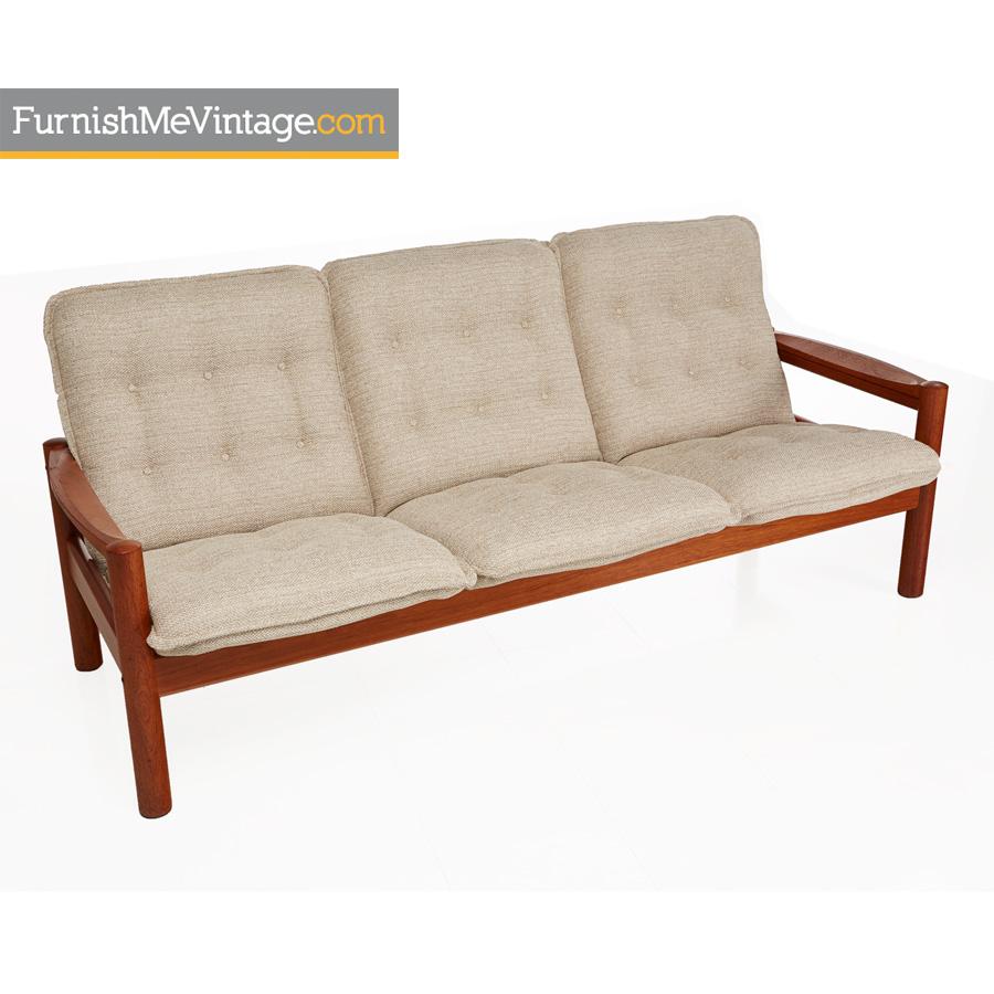 Domino Mobler Danish Modern Solid Teak Sofa With New