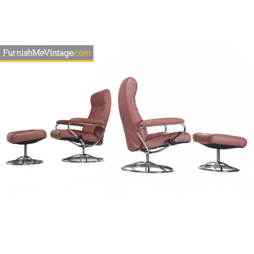 norway,stressless ekornes,leather,lounge chairs,recliner,ottoman,modern