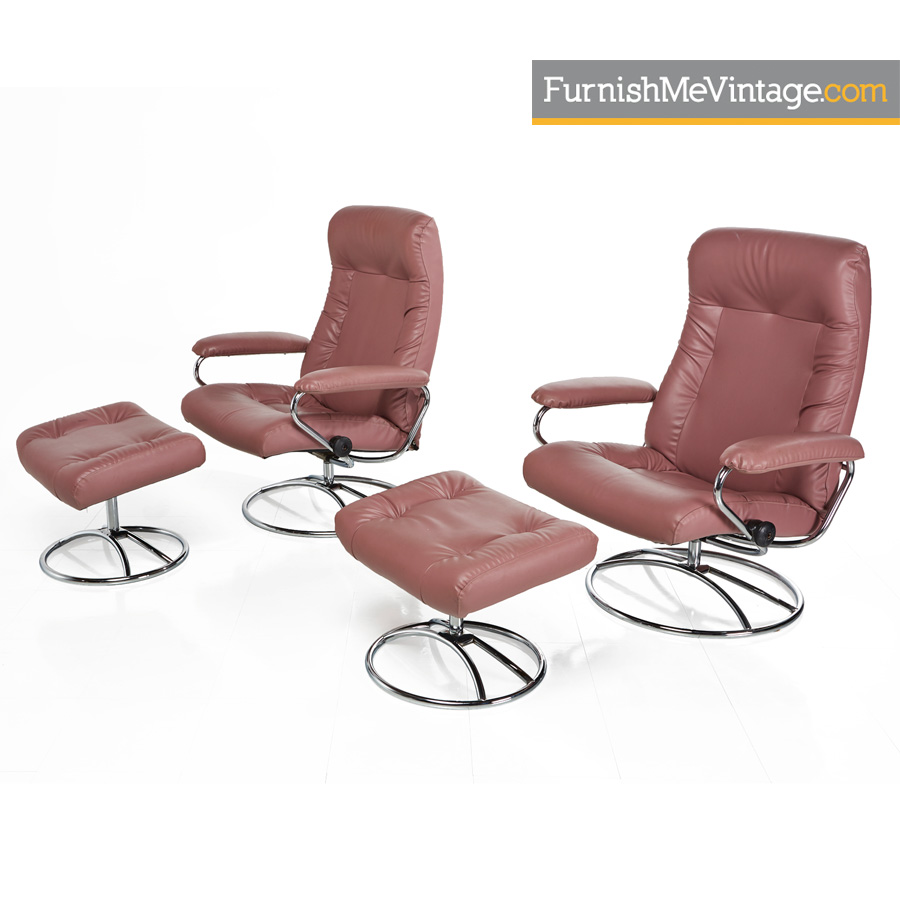 stressless ekornes rose leather chrome recliners with ottomans pair