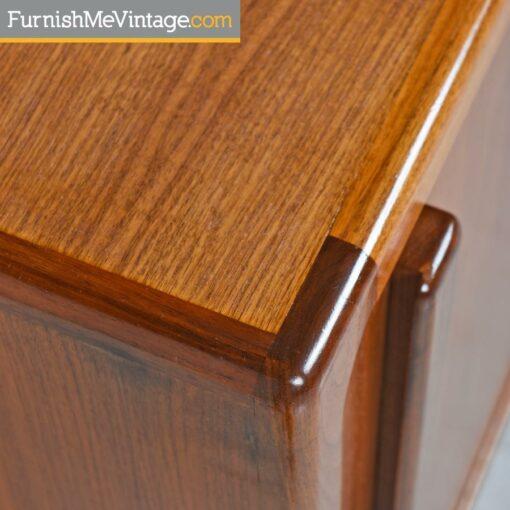 Teak Record Cabinet Credenza - Dansih Modern Style With Sliding Doors