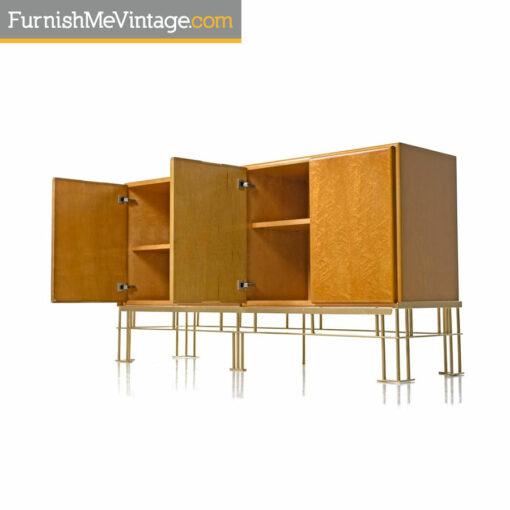 milo baughman burlwood cabinet