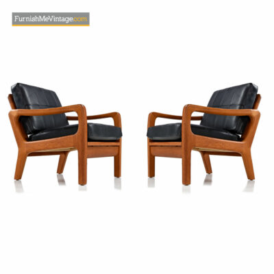 Juul Kristensen, Convertible, Danish, Solid Teak, Lounge Chairs
