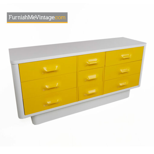 yellow,raymond loewy,chapter one,broyhill,modern,dresser,retro