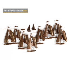 Jere Style Brutalist Metal Sailboat Regatta Wall Art