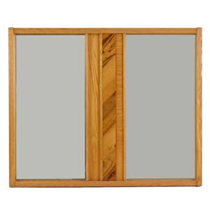 Mid Century Modern Brutalist Oak and Hickory Mirror