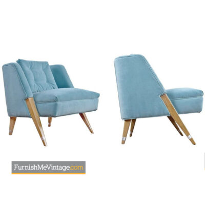Pierre Jeanneret,cerused oak,mid-century,hollywood regency,blue velvet,slipper chairs,compass leg