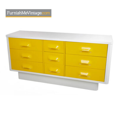 yellow,raymond loewy,chapter one,broyhill,modern,dresser,retro