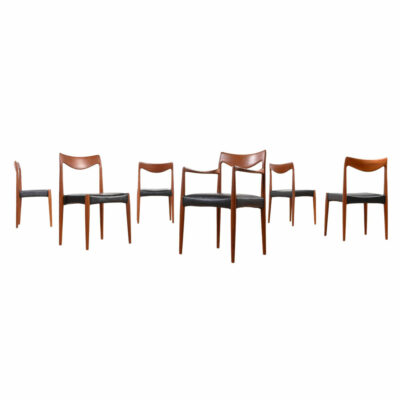 1950s Mid century modern teak Bambi Dining Chairs designed by Rolf Rastad and Adolf Relling for Gustav Bahus. New black vinyl upholstered seats