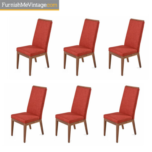 verbois jane dining chairs,solid walnut,danish modern,red fabric
