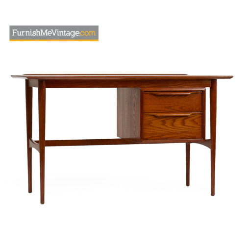 Heywood Wakefield desk with dovetail joinery, sculpted drawer pulls and lip edge top. Solid oak exterior has been fully restored and refinished