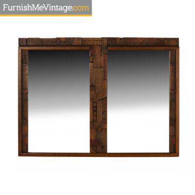paul evans,brutalist mirror,lane,1970s,vintage,modern,retro