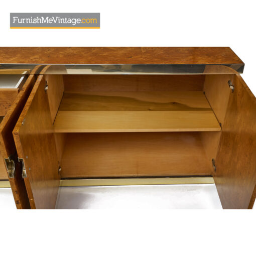 Pierre Cardin Credenza Burl Wood and Brass Sideboard Cabinet - Furnish Me Vintage