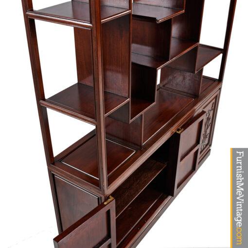 asian modern,chinoiserie,baker,rosewood,room-divider, curio,bookshelf