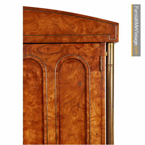 Mastercraft Armoire Dresser - Hollywood Regency Burl Wood and Brass