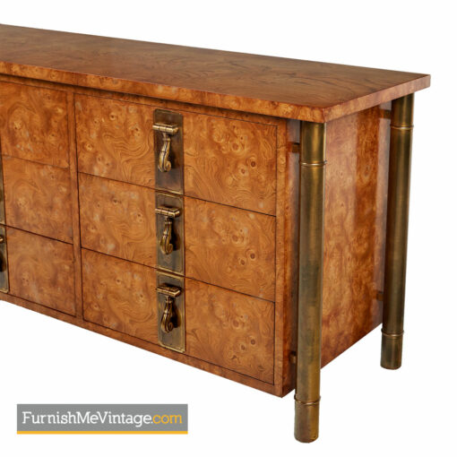 Mastercraft Dresser - Hollywood Regency Burl Wood and Brass