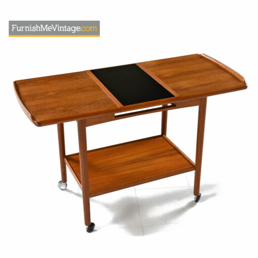 Danish Teak Bar Cart by Dyrlund - Expandable Top With Removable Tray