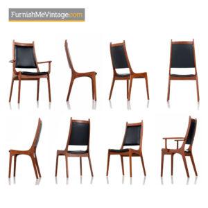 Danish Modern Teak High Back Dining Chairs Set of (8)