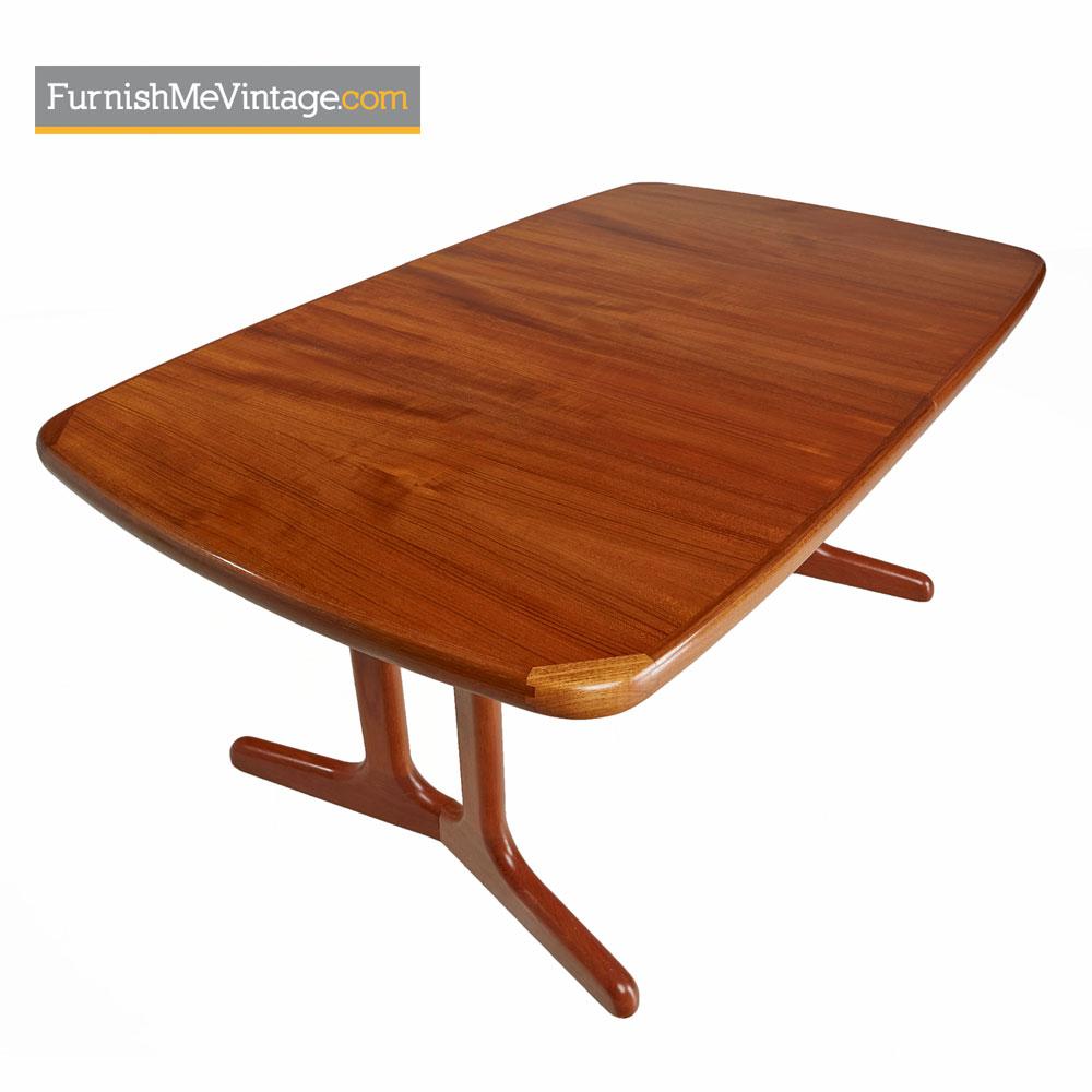 Teak Trestle Base Dining Table Vintage Danish Modern