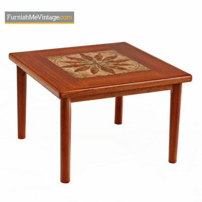 Danish Teak End Table By BRDR Furbo - Stone Tile Inlaid Teak