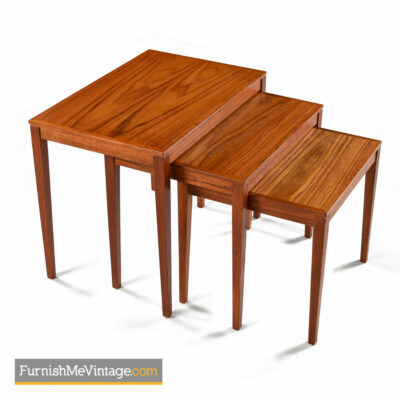 Danish Teak Nesting Tables by Bent Silberg's Mobler