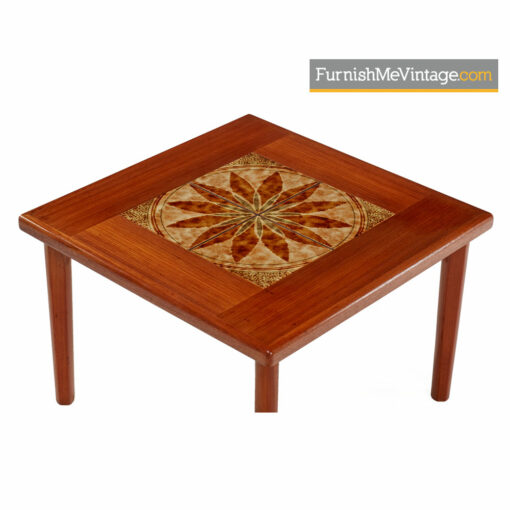 Danish Teak End Table By BRDR Furbo - Stone Tile Inlaid Teak