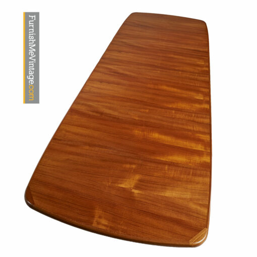Teak Trestle Base Dining Table - Vintage Danish Modern Extension Leaf