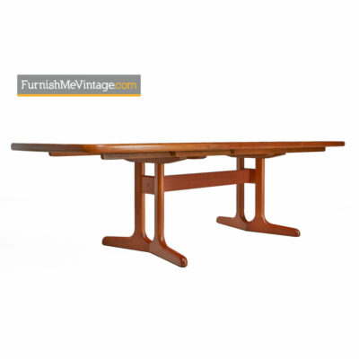 Teak Trestle Base Dining Table - Vintage Danish Modern Extension Leaf