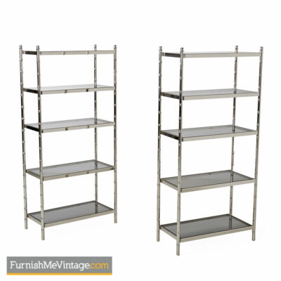 hollywood regency Chrome Etagere - Faux Bamboo Smoked Glass Shelves