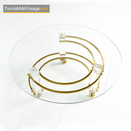 Lucite Coffee Table - Charles Hollis Jones Style With Brass Accents