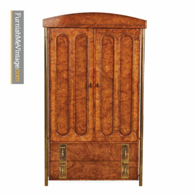 Mastercraft Armoire Dresser - Hollywood Regency Burl Wood and Brass