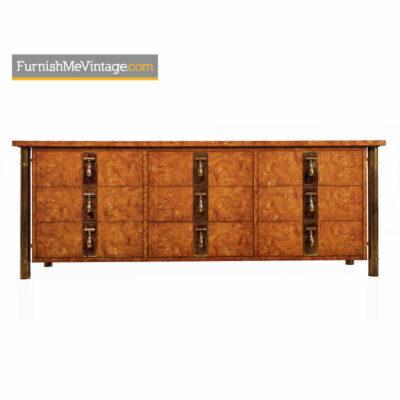 Hollywood Regency Burlwood U0026 Brass Mastercraft Dresser