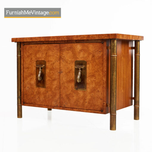 Mastercraft Nightstands - Hollywood Regency Burl Wood and Brass