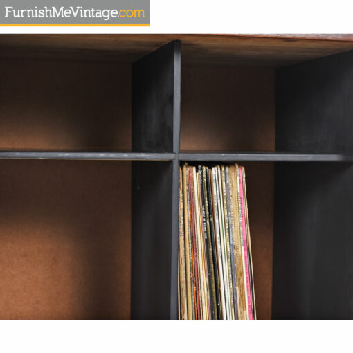 Media Cabinet - Record Storage With Solid Tambour Doors