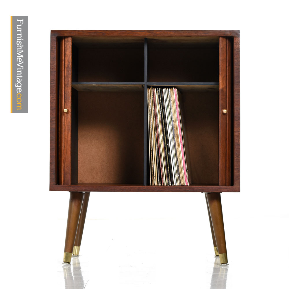 Media Cabinet Record Storage With Solid Tambour Doors