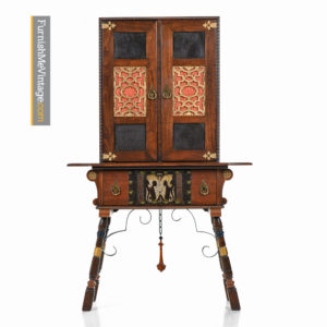 Gothic Revival Mahogany Hutch Cabinet with Seahorses and Leather