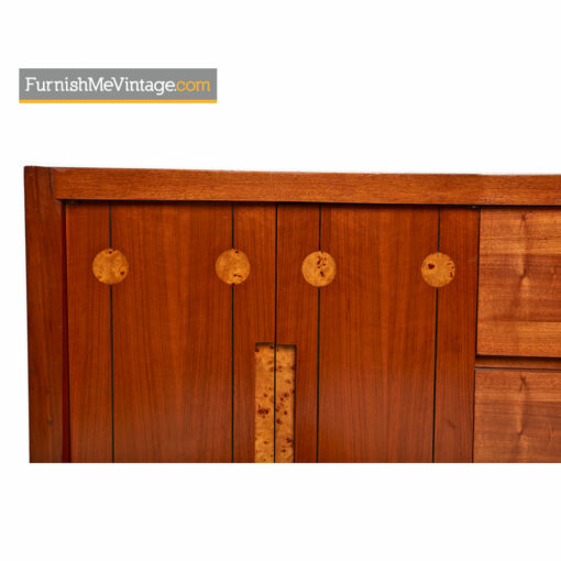 Burl Inlay Walnut Dresser Credenza by Daniel Jones Inc.