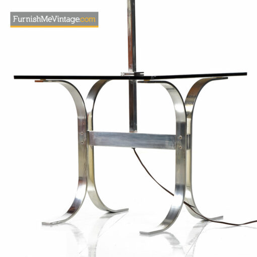 Chrome Floor Lamp With Smoked Glass & Drum Shade