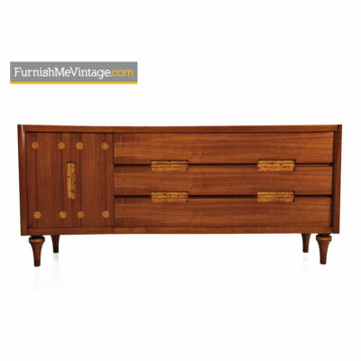 Burl Inlay Walnut Dresser Credenza by Daniel Jones Inc.