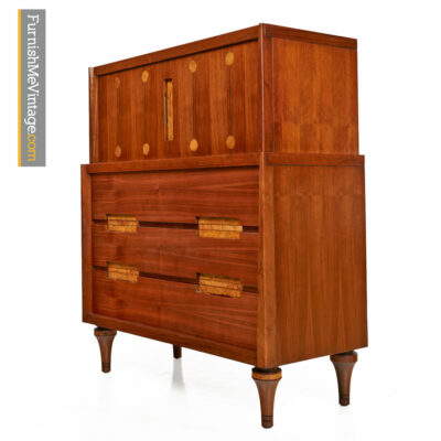 Walnut Highboy Dresser With Burl Inlay by Daniel Jones Inc.