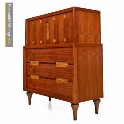 Walnut Highboy Dresser With Burl Inlay by Daniel Jones Inc.