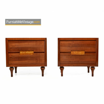 Burl Inlay Walnut Nightstand End Tables by Daniel Jones Inc. of New York