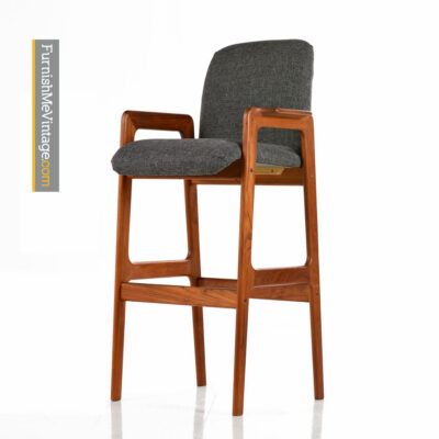 Teak Bar Stool - Scandinavian Modern Highback Design
