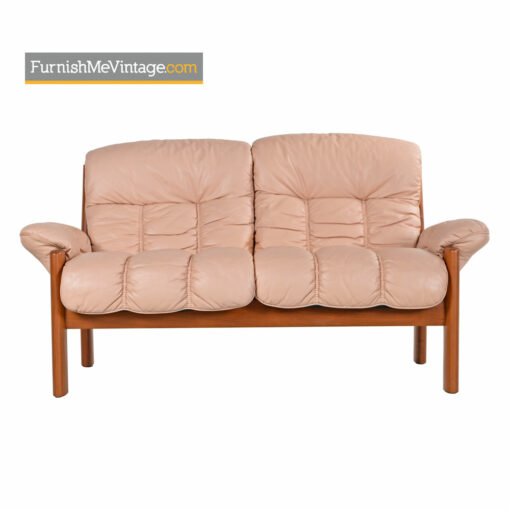 Ekornes Stressless Montana Pale Rose Teak Loveseat Sofa
