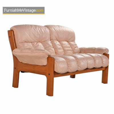 Ekornes Stressless Montana Pale Rose Teak Loveseat Sofa
