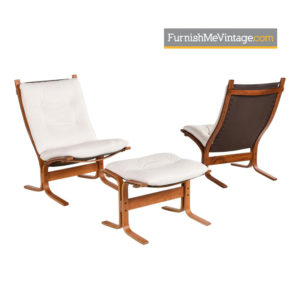 White Leather Siesta Lounge Chairs and Ottoman by Ekornes of Norway